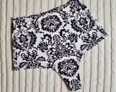 Damask Print Cheeky High Waist Panty - Black & White Thong - Organic Cotton Underwear