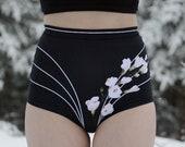 SPECIALTY PRINT High Waist Panty - Black & White Rose Rings Print - Organic Cotton Underwear
