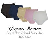 Any 5 PLAIN Panties Combo - Any style and color plain colored panties