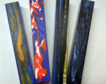 "1 pc E-Vap Blue//Gold Swirl Acrylic Pen Blank 3//4/"" x 5/"""