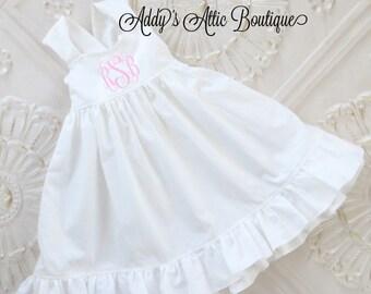 e96761bd3 Easter Dress, Monogrammed Dress, Wedding Dress, Flower Girl Dress, Beach  Dress, Toddler Girls Dress, Baptism Dress