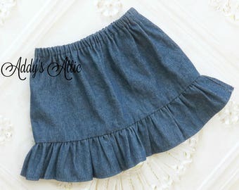 Girls Denim Skirt, Fall Skirt, Toddler Girls Skirt, Baby Girls Skirt, Back to School Skirt