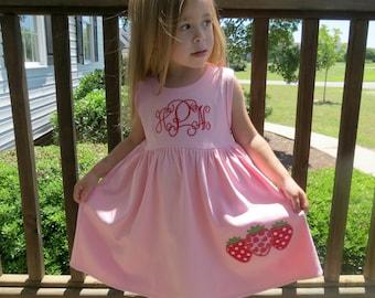 Strawberry Dress, Appliqued Dress, Embroidered Dress, Monogrammed Dress, Toddler Dress, Summer Dress, Sundress