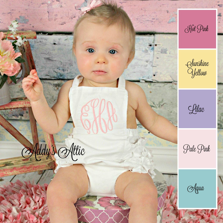 bd15004d226f Baby Girl Sunsuit Romper Monogrammed Sunsuit Ruffle Romper