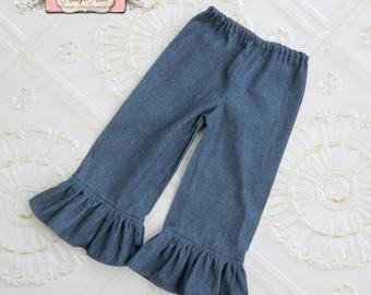 Denim Ruffle Pants, Fall Ruffle Pants, Toddler Girls Ruffle Pants