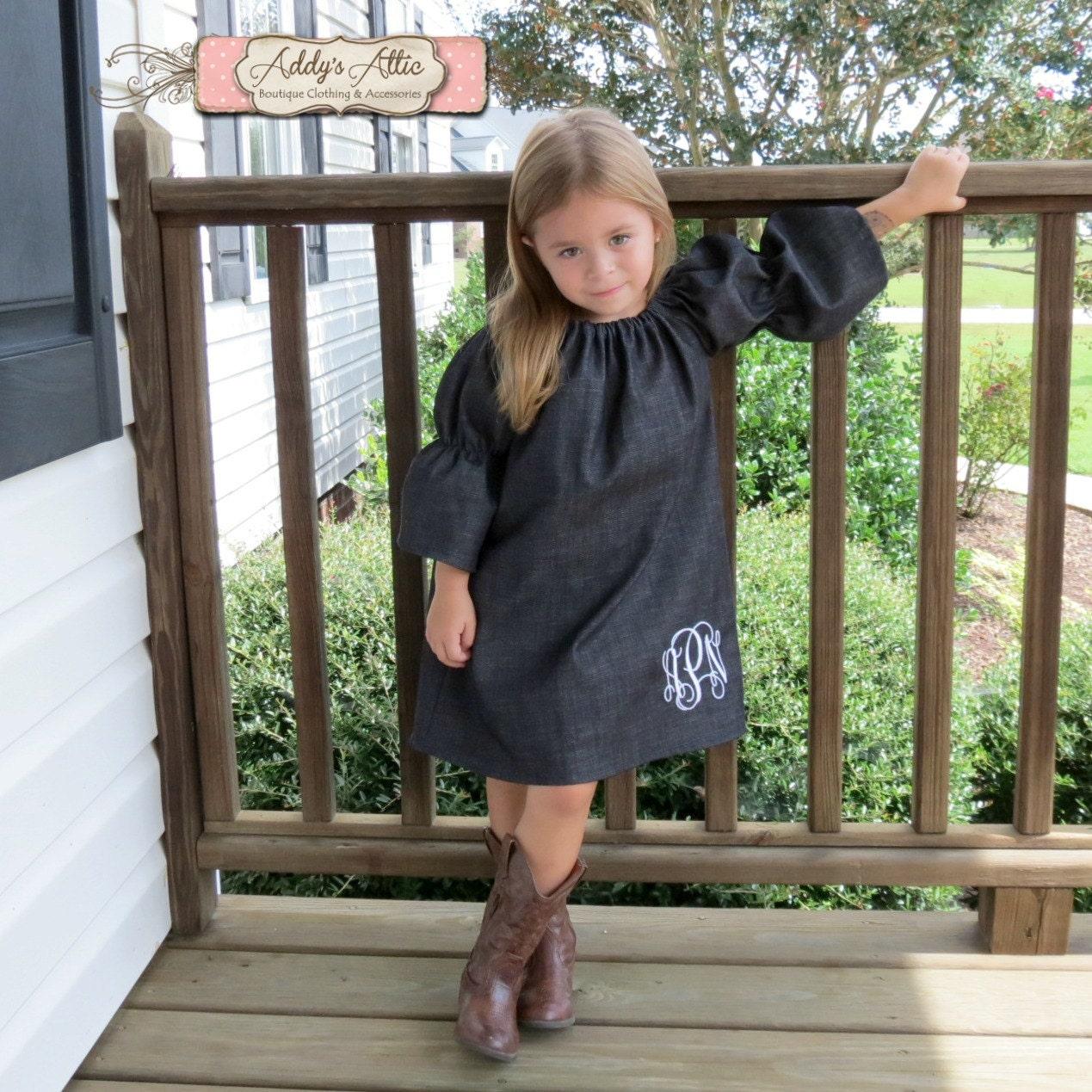 1dec563ce6 Denim Peasant Dress Monogrammed Dress Toddler Peasent Dress