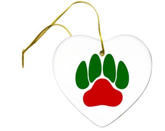 Christmas Red and Green Pet Lovers Puppy Dog Paw Print on a Ceramic Hanging Heart Ornament