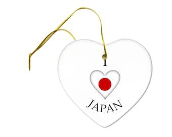 I Heart Japan Love Earthquake Ceramic Hanging Heart Ornament