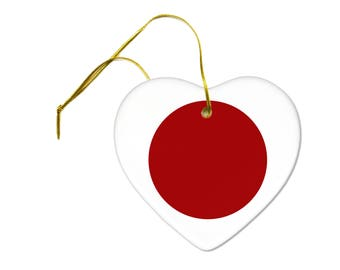 Flag of Japan on a Ceramic Hanging Heart Ornament
