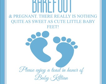 Barefoot and pregnant wine label