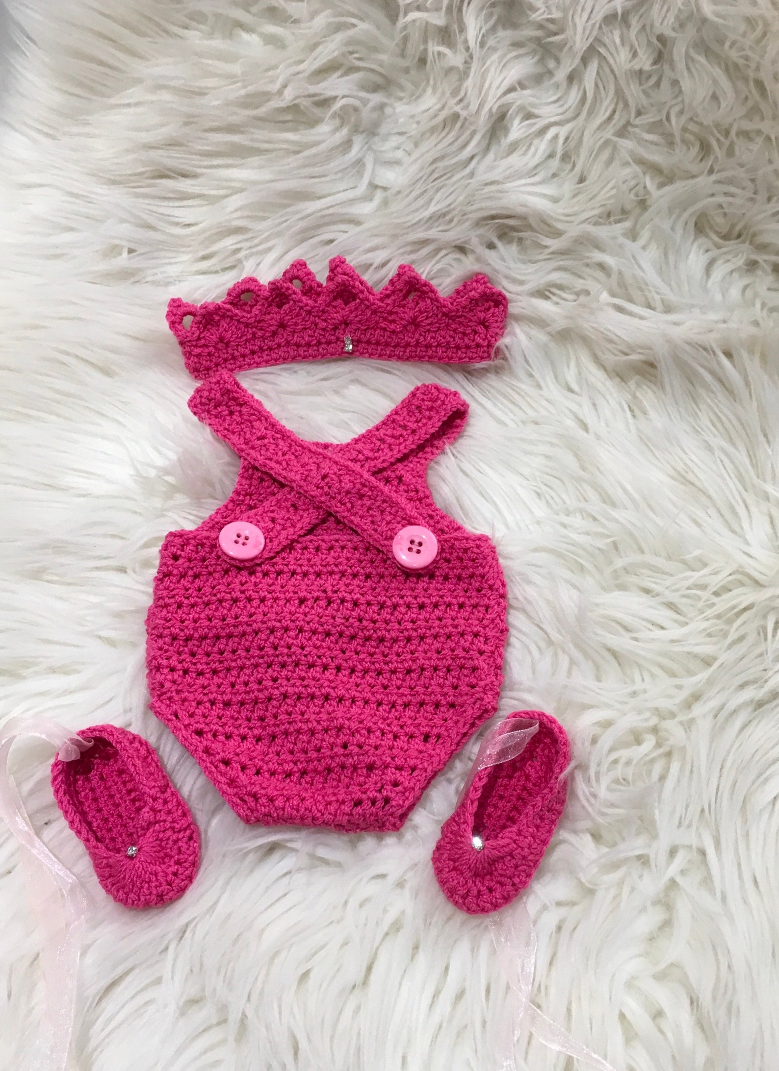 baby girl romper ballet shoes and tiara crochet summer fashion spring gift baby girl crystal rhinestones hot pink ribbon newborn