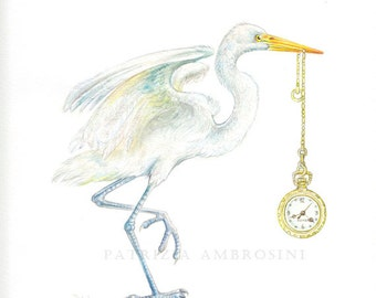 Original 8,6x11,2 Watercolour HERON  with pocket watch.. NOT A PRINT ..Original Painting bird, watch, clock, time,