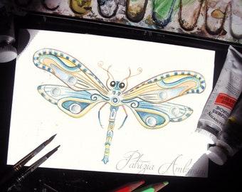 Handpainted, Original 4x6, Watercolour, Dragonfly Study No.02 Painting, fine art. NOT A PRINT , Original