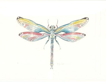 Handpainted, Original 4x6, Watercolour, Dragonfly Study No.01 Painting, fine art. NOT A PRINT , Original