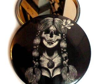 POCKET MIRROR vintage skull