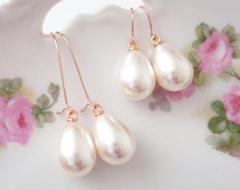 Pearl bridesmaid earrings Pearl drop earrings Rose gold pearl earring Pearl teardrop earrings Pearl dangle earring Pearl bridesmaid jewelry