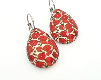 Red poppy earrings Red poppy jewelry Poppy flower jewelry Red poppy flower jewelry Red poppy wedding jewelry Wedding jewelry poppy Gift