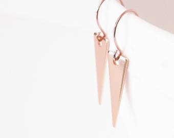 Rose gold triangle earrings Rose gold earrings Triangle dangle earrings Triangle drop earrings Rose gold geometric earrings Bridal earrings