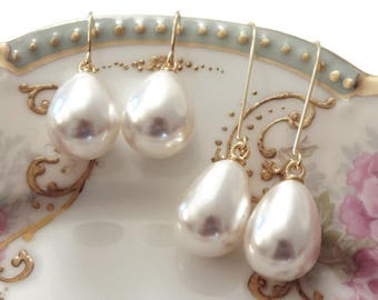 Pearl bridesmaid earrings Pearl drop earrings Pearl teardrop earrings Gift pearl earrings Pearl dangle earrings Pearl bridesmaid jewelry