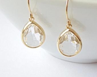 Crystal teardrop earrings Gold teardrop earrings Bridal teardrop earrings Teardrop earrings wedding Bridesmaid earrings Bridal earrings Gift