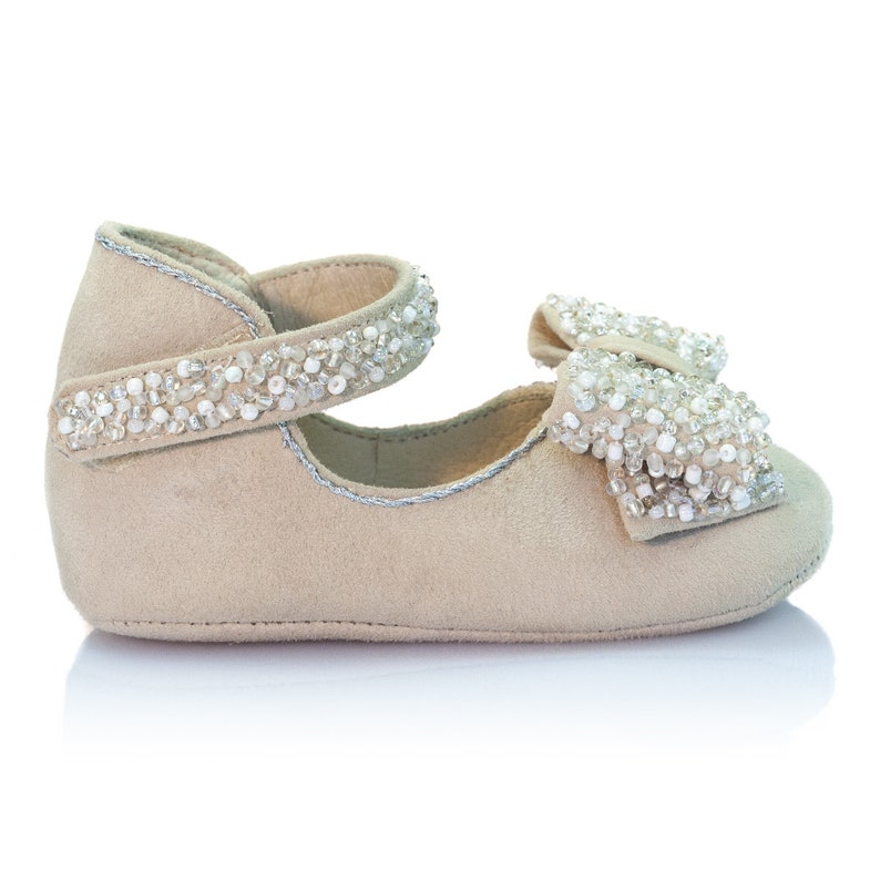 a1d244bc8717f Stardust - Bow-embellished beige leather baby shoes Baby girl shoes Baby  shower gift Baby birthday shoes Newborn christenin shoes by Vibys