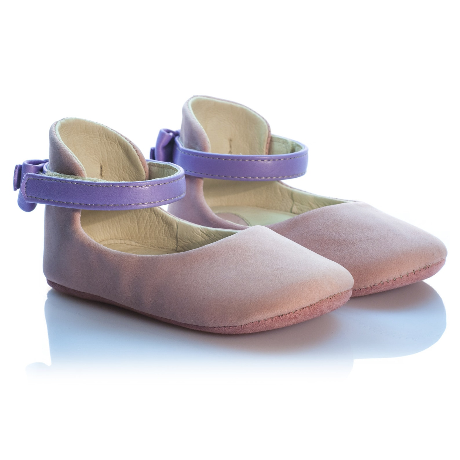 daphne - bow-embellished leather ballerinas pink leather baby girl shoes leather ballet flats for toddlers mary janes by vibys