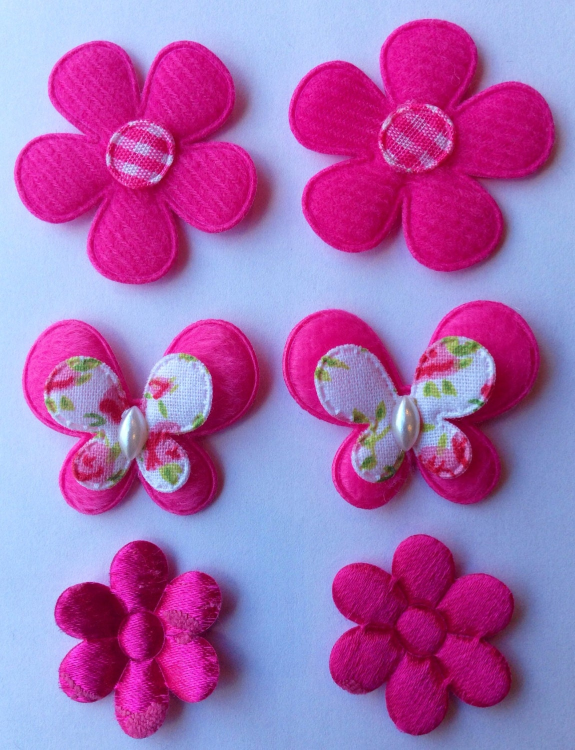 Hot Pink Flower And Butterfly Appliques For Making Your Own Etsy