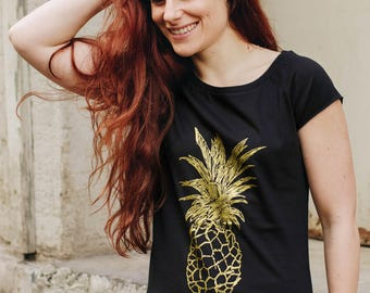 Shirt golden pineapple  / organic / fair trade _black