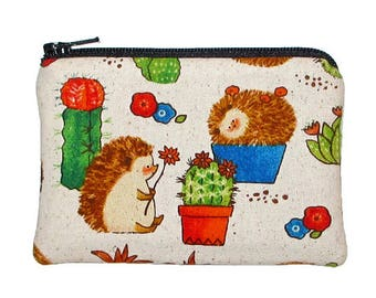 Hedgehogs and Cactus Coin Purse Small Zipper Pouch