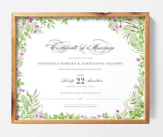 DRUCKBARE Benutzerdefinierte Heirat Hochzeit Zertifikat | Etsy