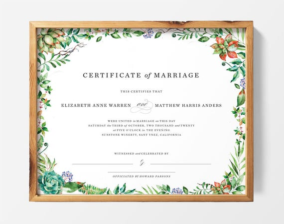 This is an image of Printable Marriage Certificate inside sample