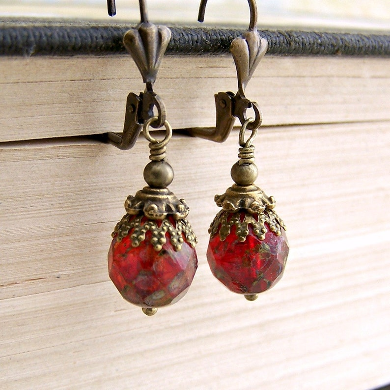 Venetian Red Earrings  faceted Czech glass beads with a image 0
