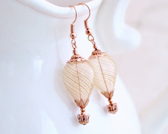 Rose Gold Hot Air Balloon Earrings with hand blown glass balloon beads - Rose Gold earrings - Hot air balloon jewelry