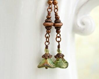 Flower Earrings in Copper and Green - long drop earrings with green flowers