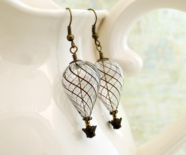Clear Steampunk Hot air Balloon Earrings with black and white image 0