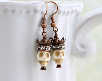Pirate Queen Earrings - skull and crown Day of the Dead jewelry -  Dia de los Muertos - Halloween earrings