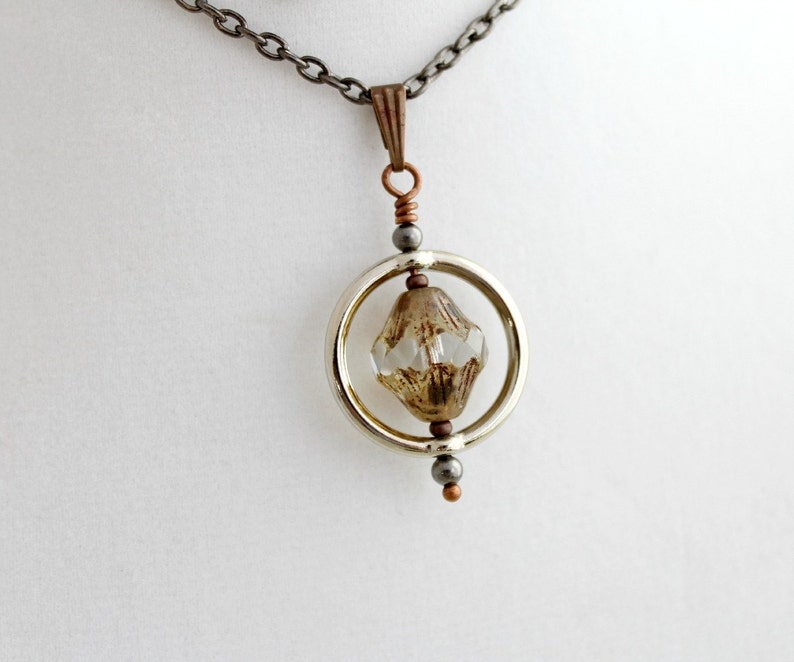 Saturn Ring Necklace with Turbine Czech glass bead  mixed image 0