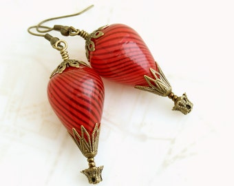 Spicy Red Hot Air Balloon Earrings - Red earrings - Red Steampunk Jewelry