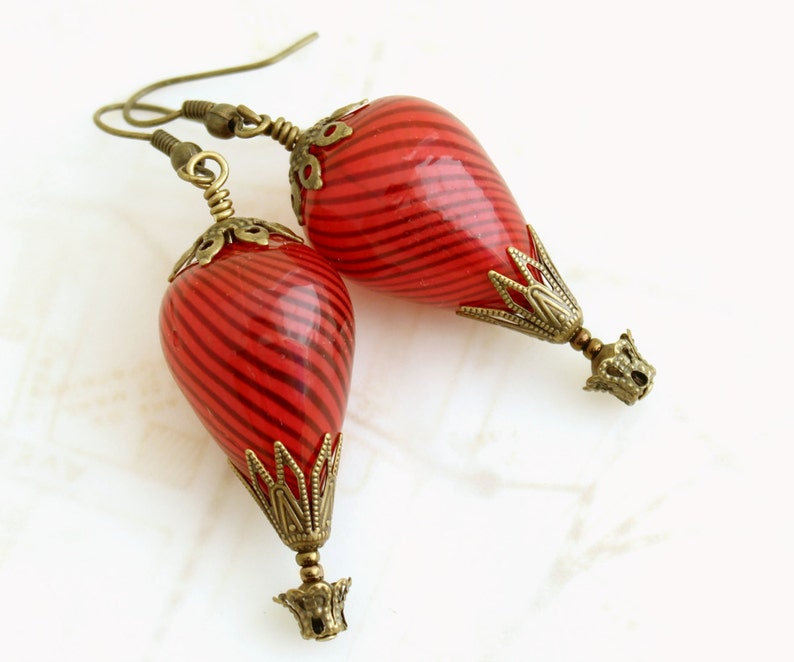 Spicy Red Hot Air Balloon Earrings  Red earrings  Red image 0