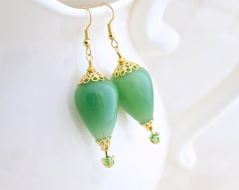 Jade Green & Gold Hot Air Balloon Earrings - blown glass beads with gold filigree baskets and bead caps