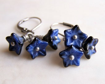 Denim Flower Earrings - blue and silver earrings with Czech glass bead flowers - blue flower earrings