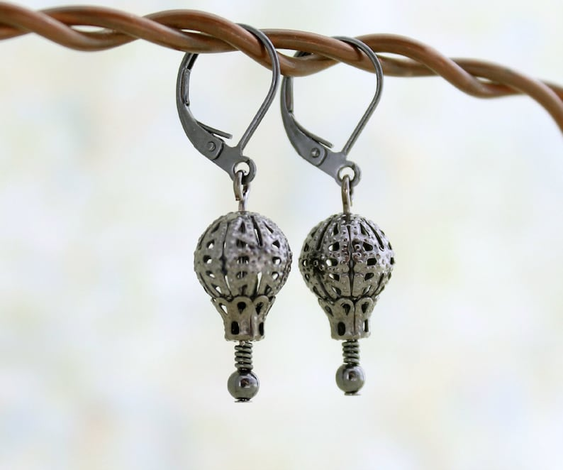 Black Victorian Style Hot Air balloon Earrings  gunmetal image 0