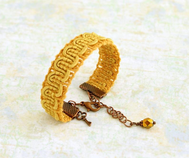 Yellow trim bracelet   Mustard yellow ribbon bracelet with image 0