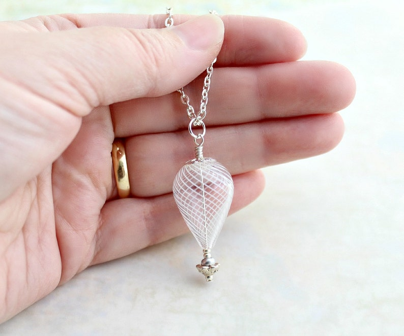 Winter White and Silver Hot Air Balloon Necklace  Cool Ride image 0