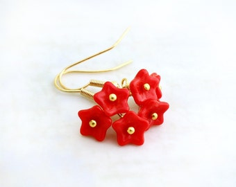 Bright Red Flower Earrings with gold wire wrapping - czech glass beads - Valentine jewelry