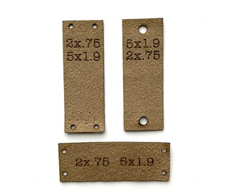 1x2 inch 2.5 x 5 cm custom lasered label ultrasuede knitting crochet sewing quilting label