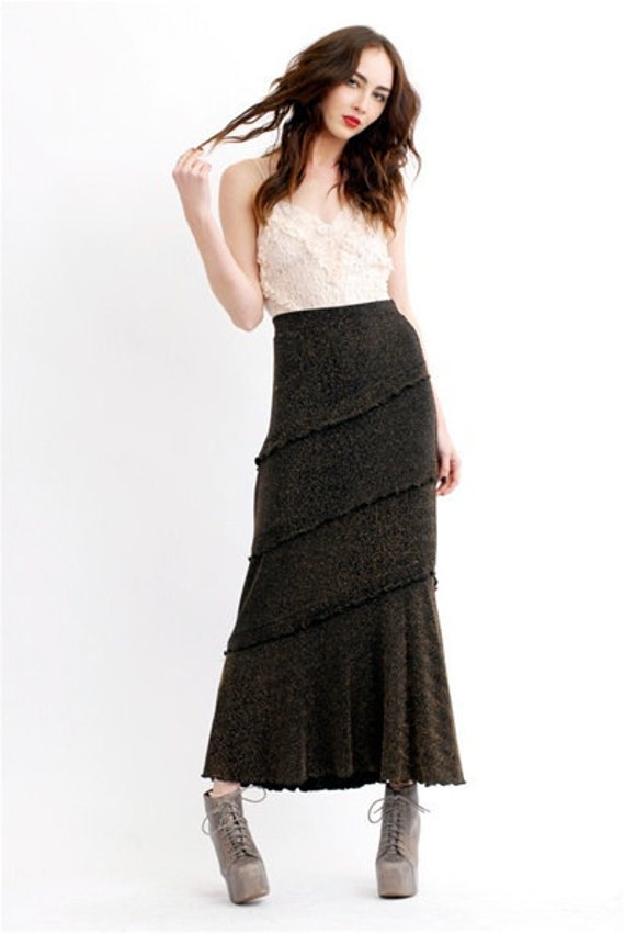 Vintage Metallic Maxi Skirt