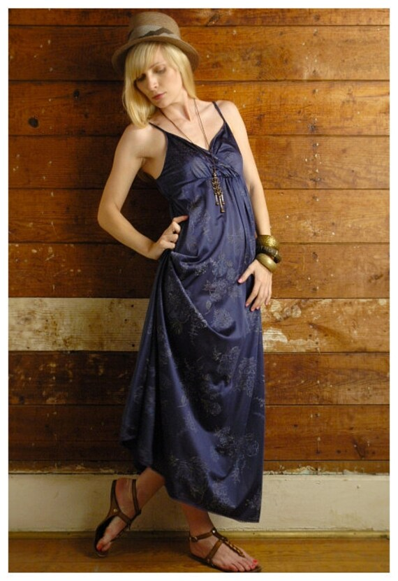 Navy Blue Maxi Slip Dress