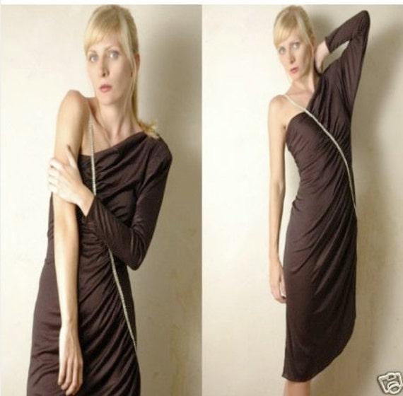 Off-Shoulder Asymmetrical Black Evening Dress