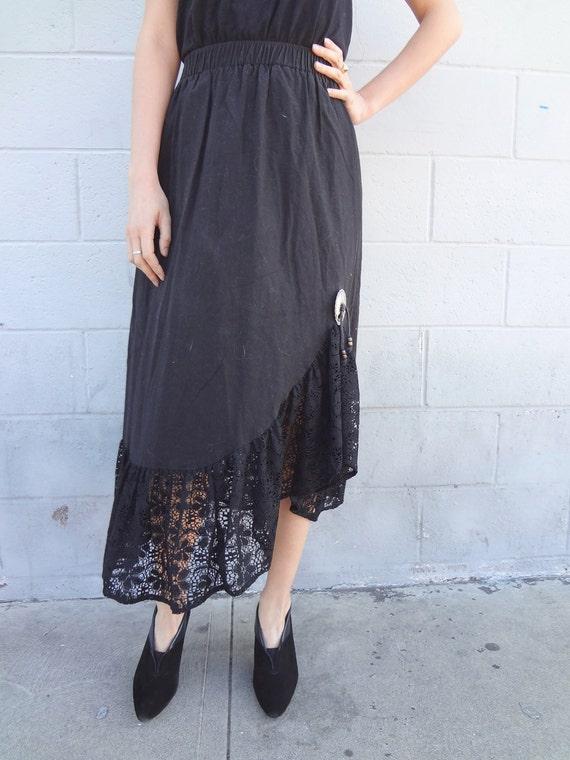 Vintage Black Maxi Cotton Lace Spanish Skirt
